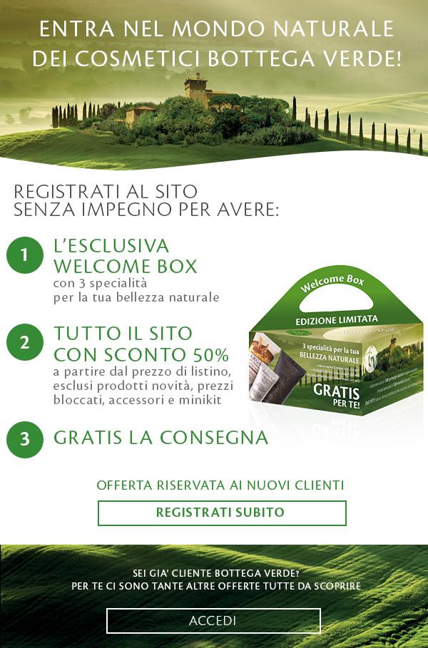 Tutto il Sito al 50%, la Welcome Box e la Consegna gratis, registrati!